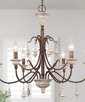 LOG BARN Farmhouse Chandelier For Dining Room 6 Light French Country Lighting With Wood Bell Rust Metal Arms 265 Dia 0 300x360