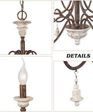 LOG BARN Farmhouse Chandelier For Dining Room 6 Light French Country Lighting With Wood Bell Rust Metal Arms 265 Dia 0 5 300x360
