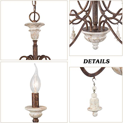 LOG BARN Farmhouse Chandelier For Dining Room 6 Light French Country Lighting With Wood Bell Rust Metal Arms 265 Dia 0 5
