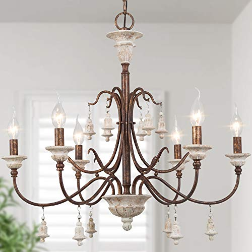 LOG BARN Farmhouse Chandelier For Dining Room 6 Light French Country Lighting With Wood Bell Rust Metal Arms 265 Dia 0