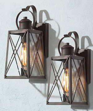 LOG BARN Porch Lights Outdoor Wall Lanterns 2 Pack Farmhouse Wall Sconces Exterior Wall Mount Lights In Rustic Bronze With Seeded Glass 0 300x360
