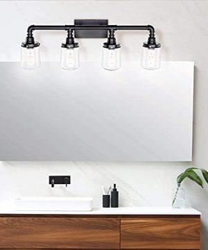 LUXEMI Bathroom Fixtures 4 Bulb Black Bathroom Vanity Lights For Farm House Bathroom Sconce For Vanity Mirror With Clear Glass Shades For Lighting Fixture Wall Light For Hallway 0 1 300x360