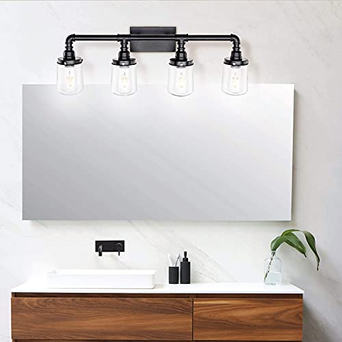 LUXEMI Bathroom Fixtures 4 Bulb Black Bathroom Vanity Lights For Farm House Bathroom Sconce For Vanity Mirror With Clear Glass Shades For Lighting Fixture Wall Light For Hallway 0 1