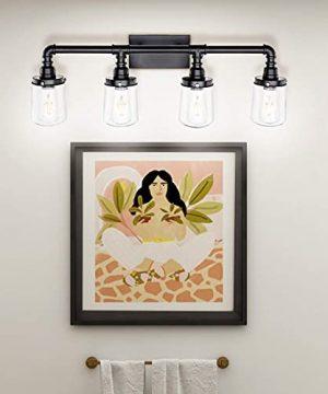 LUXEMI Bathroom Fixtures 4 Bulb Black Bathroom Vanity Lights For Farm House Bathroom Sconce For Vanity Mirror With Clear Glass Shades For Lighting Fixture Wall Light For Hallway 0 4 300x360