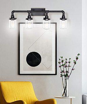 LUXEMI Bathroom Fixtures 4 Bulb Black Bathroom Vanity Lights For Farm House Bathroom Sconce For Vanity Mirror With Clear Glass Shades For Lighting Fixture Wall Light For Hallway 0 5 300x360