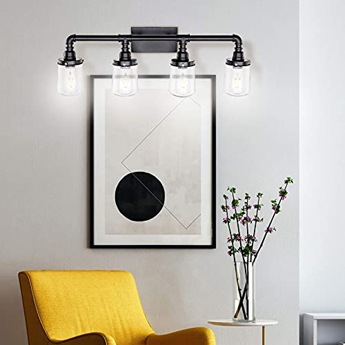 LUXEMI Bathroom Fixtures 4 Bulb Black Bathroom Vanity Lights For Farm House Bathroom Sconce For Vanity Mirror With Clear Glass Shades For Lighting Fixture Wall Light For Hallway 0 5