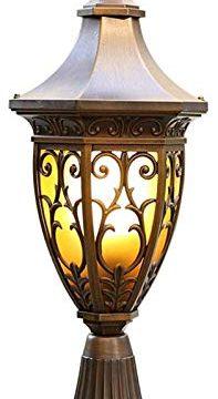 LWJPP One Light Post Lantern Courtyard Column Lamp For Decor Column Lamp Courtyards Waterproof IP65 Antique Dark Coffee Brown Color H59cm 0 197x360