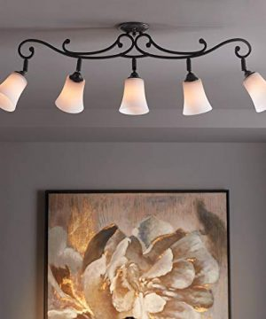 Leaf And Vine White Painted Glass 5 Light Track Fixture Pro Track 0 300x360