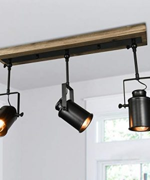 Lingkai Track Lighting Fixtures 3 Lights Adjustable Track Lighting Heads Industrial Wood Canopy For Ceiling And Wall 0 300x360