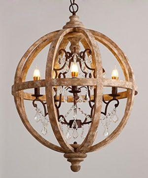 Lovedima New 24 Wide Retro Rustic Weathered Wooden Globe Chandelier Crystal 5 Light Pendant Lighting 0 300x360