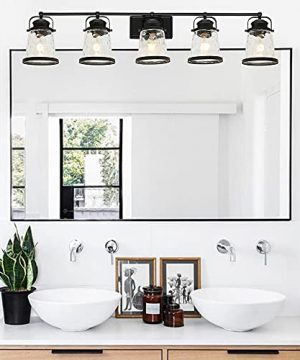 Lucidce Farmhouse Vanity Light 5 Lights Black Bathroom Wall Light Fixtures With Hammered Glass Shades Rustic Vintage Wall Sconce Lighting Over Mirror 0 1 300x360