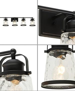 Lucidce Farmhouse Vanity Light 5 Lights Black Bathroom Wall Light Fixtures With Hammered Glass Shades Rustic Vintage Wall Sconce Lighting Over Mirror 0 2 300x360