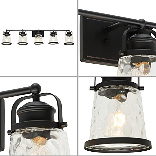 Lucidce Farmhouse Vanity Light 5 Lights Black Bathroom Wall Light Fixtures With Hammered Glass Shades Rustic Vintage Wall Sconce Lighting Over Mirror 0 2