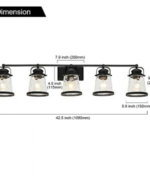 Lucidce Farmhouse Vanity Light 5 Lights Black Bathroom Wall Light Fixtures With Hammered Glass Shades Rustic Vintage Wall Sconce Lighting Over Mirror 0 3 300x360