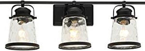 Lucidce Farmhouse Vanity Light 5 Lights Black Bathroom Wall Light Fixtures With Hammered Glass Shades Rustic Vintage Wall Sconce Lighting Over Mirror 0 300x107