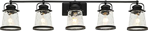 Lucidce Farmhouse Vanity Light 5 Lights Black Bathroom Wall Light Fixtures With Hammered Glass Shades Rustic Vintage Wall Sconce Lighting Over Mirror 0