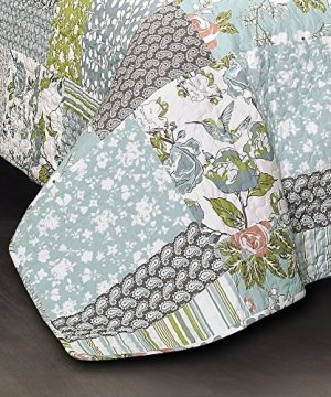 Lush Decor Blue Roesser Quilt Patchwork Floral Reversible Print Pattern Country Farmhouse Style 3 Piece Bedding Set Full Queen 0 1 300x360