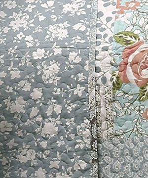 Lush Decor Blue Roesser Quilt Patchwork Floral Reversible Print Pattern Country Farmhouse Style 3 Piece Bedding Set Full Queen 0 2 300x360