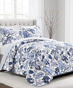 Lush Decor Cynthia Jacobean Quilt 3 Piece Reversible Bedding Set Full Queen Blue 0 300x360