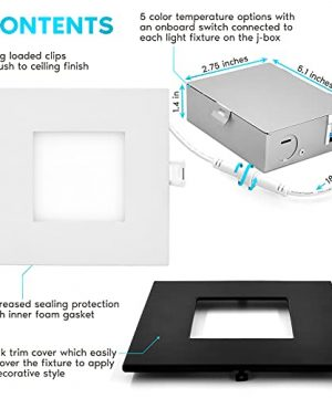 Luxrite 4 Inch Ultra Thin Square LED Recessed Lighting 5 Color Options 2700K 5000K Dimmable LED Downlight 10W IC Rated Wet Rated Canless LED Recessed Light Black Trim ETL Listed 0 0 300x360