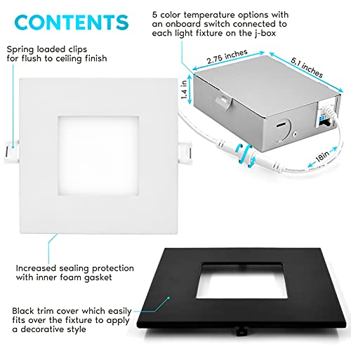 Luxrite 4 Inch Ultra Thin Square LED Recessed Lighting 5 Color Options 2700K 5000K Dimmable LED Downlight 10W IC Rated Wet Rated Canless LED Recessed Light Black Trim ETL Listed 0 0