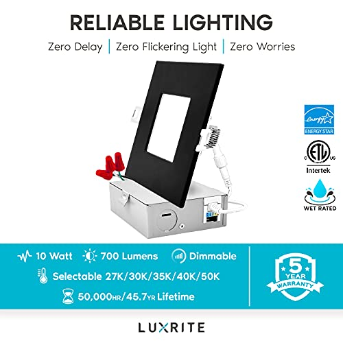 Luxrite 4 Inch Ultra Thin Square LED Recessed Lighting 5 Color Options 2700K 5000K Dimmable LED Downlight 10W IC Rated Wet Rated Canless LED Recessed Light Black Trim ETL Listed 0 3