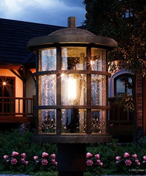 Luxury Craftsman Outdoor Post Light Medium Size 1725H X 10W With Tudor Style Elements Wrought Iron Design Natural Black Finish And Seeded Glass UQL1046 By Urban Ambiance 0 300x360
