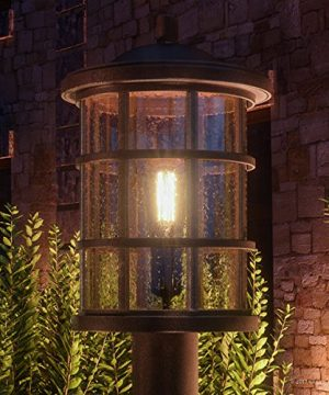 Luxury Craftsman Outdoor Post Light Medium Size 1725H X 10W With Tudor Style Elements Wrought Iron Design Oil Rubbed Parisian Bronze Finish And Seeded Glass UQL1047 By Urban Ambiance 0 300x360