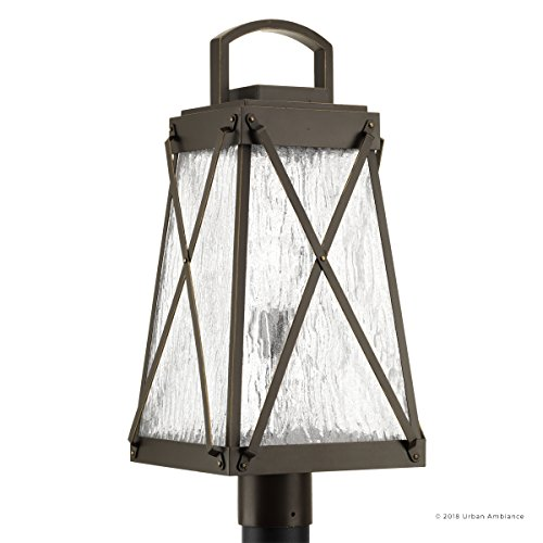 Luxury English Tudor Outdoor PostPier Light Large Size 2175H X 105W With Rustic Style Elements Olde Bronze Finish UHP1056 From The Saint Paul Collection By Urban Ambiance 0 5