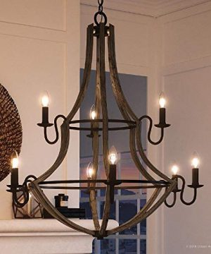 Luxury Farmhouse Chandelier Large Size 3475H X 325W With Rustic Style Elements Wood Grain Metal With Antique Black Finish UQL2961 From The Swansea Collection By Urban Ambiance 0 300x360