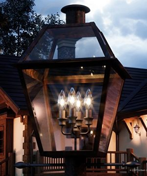 Luxury Historic Outdoor Post Light Large Size 26H X 17W With Tudor Style Elements Antique Gas Lantern Design Rustic Copper Finish And Clear Glass UQL1213 By Urban Ambiance 0 300x360