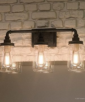 Luxury Industrial Bathroom Light Medium Size 11H X 215W With Shabby Chic Style Elements Aged Pipe Design Antique Black Finish And Mason Jar With Floral Pattern UQL2662 By Urban Ambiance 0 300x360