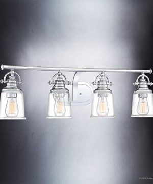 Luxury Industrial Bathroom Vanity Light Large Size 95H X 32W With Vintage Style Elements Polished Chrome Finish UQL2882 From The Salford Collection By Urban Ambiance 0 1 300x360
