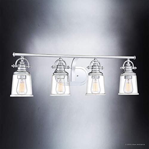 Luxury Industrial Bathroom Vanity Light Large Size 95H X 32W With Vintage Style Elements Polished Chrome Finish UQL2882 From The Salford Collection By Urban Ambiance 0 1