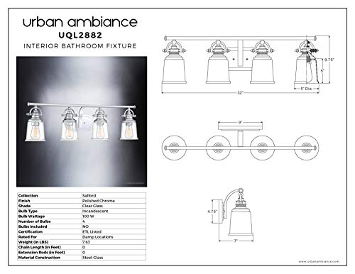 Luxury Industrial Bathroom Vanity Light Large Size 95H X 32W With Vintage Style Elements Polished Chrome Finish UQL2882 From The Salford Collection By Urban Ambiance 0 4
