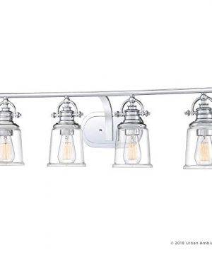 Luxury Industrial Bathroom Vanity Light Large Size 95H X 32W With Vintage Style Elements Polished Chrome Finish UQL2882 From The Salford Collection By Urban Ambiance 0 5 300x360