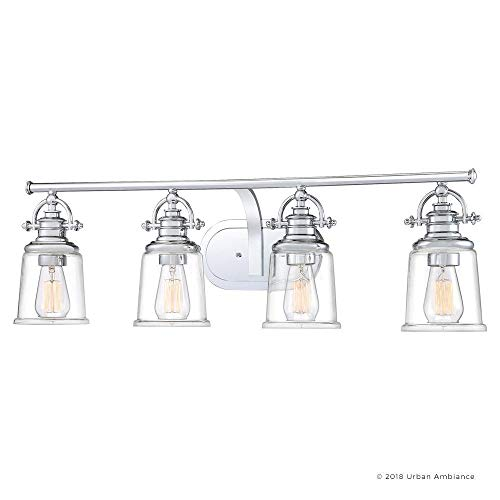 Luxury Industrial Bathroom Vanity Light Large Size 95H X 32W With Vintage Style Elements Polished Chrome Finish UQL2882 From The Salford Collection By Urban Ambiance 0 5
