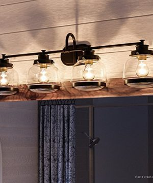 Luxury Industrial Chic Bathroom Vanity Light Large Size 1125H X 3575W With Art Deco Style Elements Olde Bronze Finish UHP2541 From The Nottingham Collection By Urban Ambiance 0 300x360