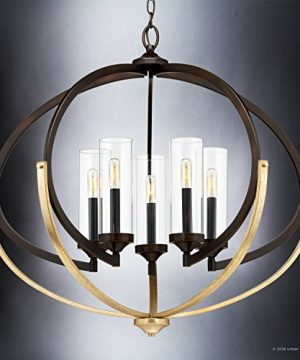Luxury Mediterranean Chandelier Large Size 27875H X 3375W With Contemporary Style Elements Olde Bronze Finish And Clear Shade UHP2351 From The Baton Rouge Collection By Urban Ambiance 0 1 300x360