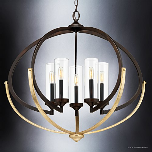 Luxury Mediterranean Chandelier Large Size 27875H X 3375W With Contemporary Style Elements Olde Bronze Finish And Clear Shade UHP2351 From The Baton Rouge Collection By Urban Ambiance 0 1