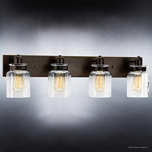 Luxury Modern Farmhouse Bathroom Vanity Light Large Size 8625H X 3025W With Industrial Style Elements Olde Bronze Finish UHP2145 From The Bridgeport Collection By Urban Ambiance 0 1