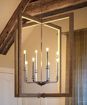 Luxury Modern Farmhouse Chandelier Large Size 39H X 36W With Rustic Style Elements Galvanized Steel Finish UHP2742 From The Brighton Collection By Urban Ambiance 0 300x360