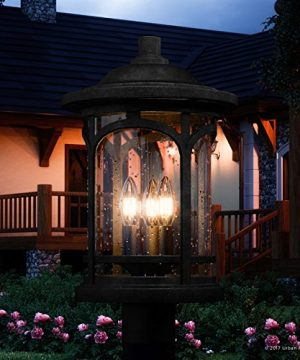 Luxury Rustic Outdoor Post Light Medium Size 19H X 11W With Colonial Style Elements Wrought Iron Design High End Black Silk Finish And Seeded Glass UQL1106 By Urban Ambiance 0 300x360