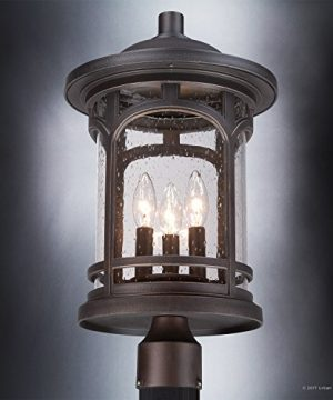 Luxury Rustic Outdoor Post Light Medium Size 19H X 11W With Colonial Style Elements Wrought Iron Design Oil Rubbed Parisian Bronze Finish And Seeded Glass UQL1107 By Urban Ambiance 0 2 300x360