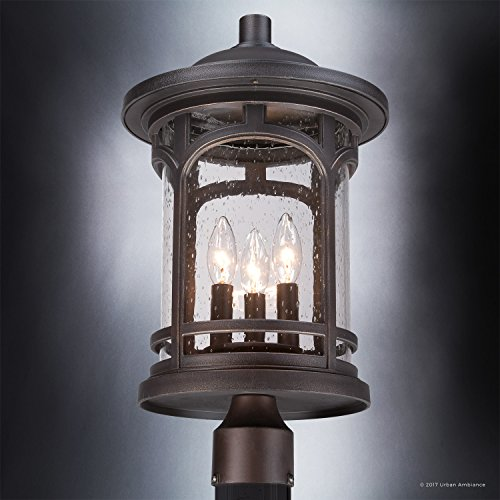 Luxury Rustic Outdoor Post Light Medium Size 19H X 11W With Colonial Style Elements Wrought Iron Design Oil Rubbed Parisian Bronze Finish And Seeded Glass UQL1107 By Urban Ambiance 0 2