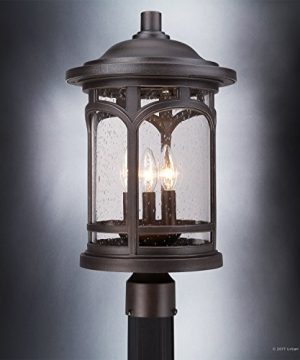 Luxury Rustic Outdoor Post Light Medium Size 19H X 11W With Colonial Style Elements Wrought Iron Design Oil Rubbed Parisian Bronze Finish And Seeded Glass UQL1107 By Urban Ambiance 0 3 300x360