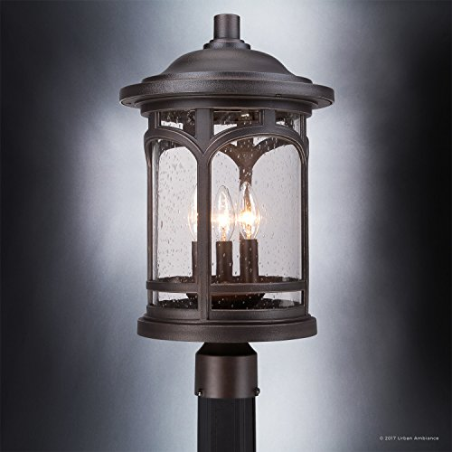 Luxury Rustic Outdoor Post Light Medium Size 19H X 11W With Colonial Style Elements Wrought Iron Design Oil Rubbed Parisian Bronze Finish And Seeded Glass UQL1107 By Urban Ambiance 0 3