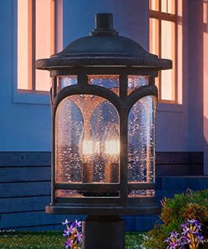 Luxury Rustic Outdoor Post Light Medium Size 19H X 11W With Colonial Style Elements Wrought Iron Design Oil Rubbed Parisian Bronze Finish And Seeded Glass UQL1107 By Urban Ambiance 0 300x360