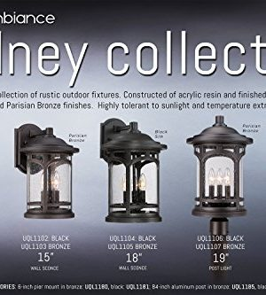 Luxury Rustic Outdoor Post Light Medium Size 19H X 11W With Colonial Style Elements Wrought Iron Design Oil Rubbed Parisian Bronze Finish And Seeded Glass UQL1107 By Urban Ambiance 0 4 300x333