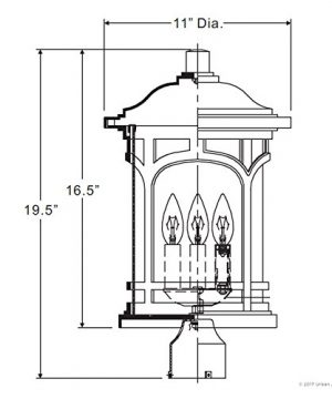 Luxury Rustic Outdoor Post Light Medium Size 19H X 11W With Colonial Style Elements Wrought Iron Design Oil Rubbed Parisian Bronze Finish And Seeded Glass UQL1107 By Urban Ambiance 0 5 300x360